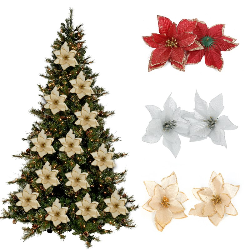 10PCS Artificial Flowers Christmas Tree Ornaments Christmas Decorations for Home Xmas Tree New Year Decor Navidad 2018 natale